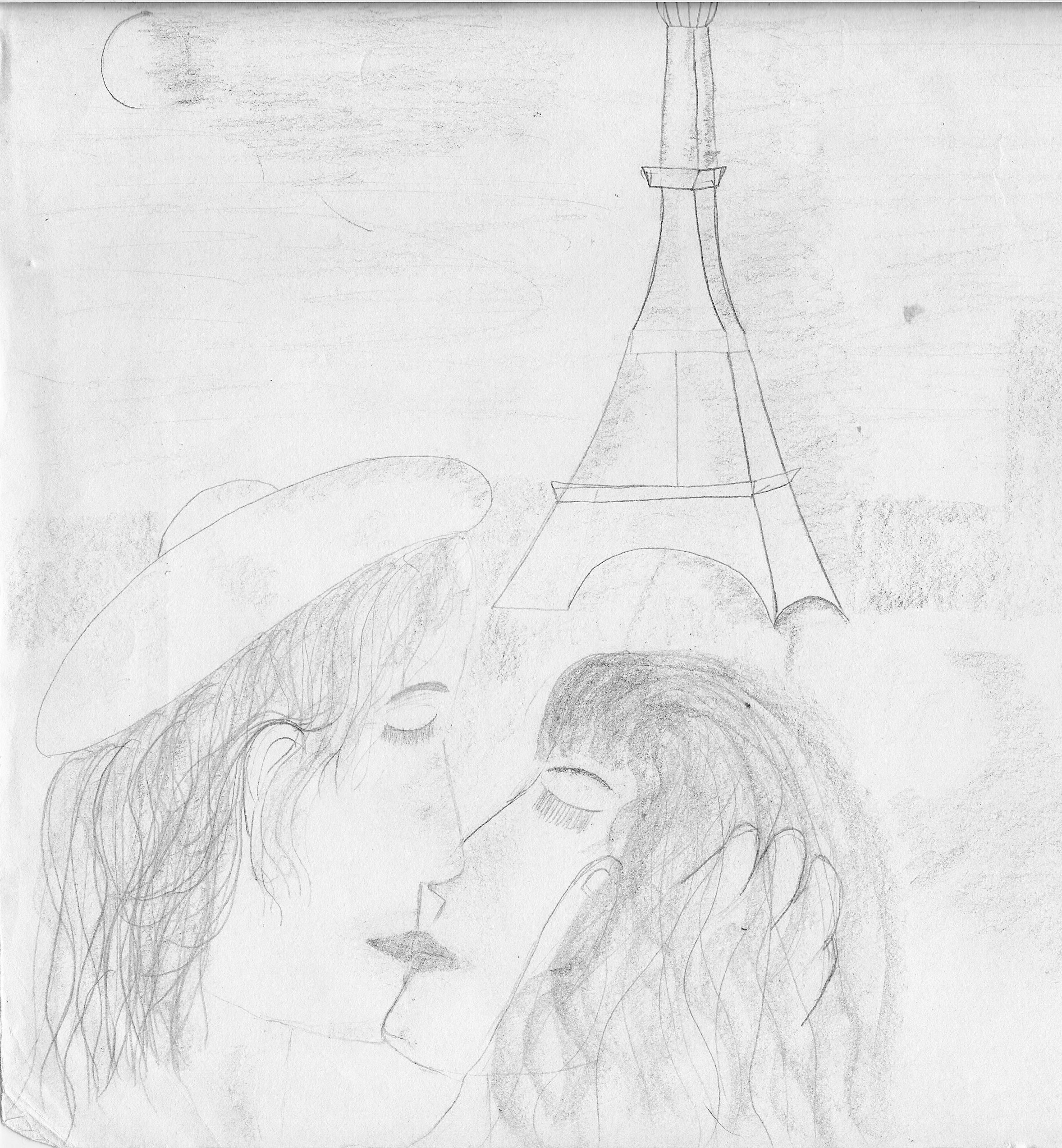 A picture I drew as a child of my French boyfriend fantasy; you can see why writing was a better artistic pursuit for me than sketch artist.